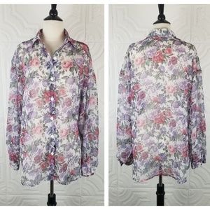 90s Sheer Floral Button Down Long Sleeve Top